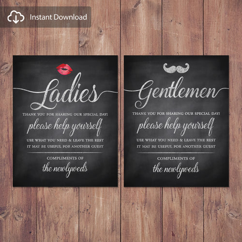 Rustic wedding bathroom basket signs - womens and mens hospitality basket - his and hers bathroom signs - Digital Download