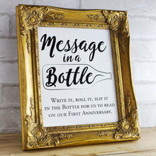 Load image into Gallery viewer, Wedding Guest Book Sign - Message in a bottle anniversary PRINTABLE 8x10 and 5x7 wedding sign