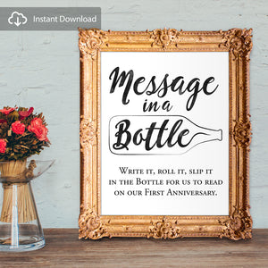 Message in a Bottle Wedding Guest Book Sign - digital download