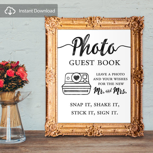 photo guest book - leave a photo and your wishes for the new mr and mrs - digital download