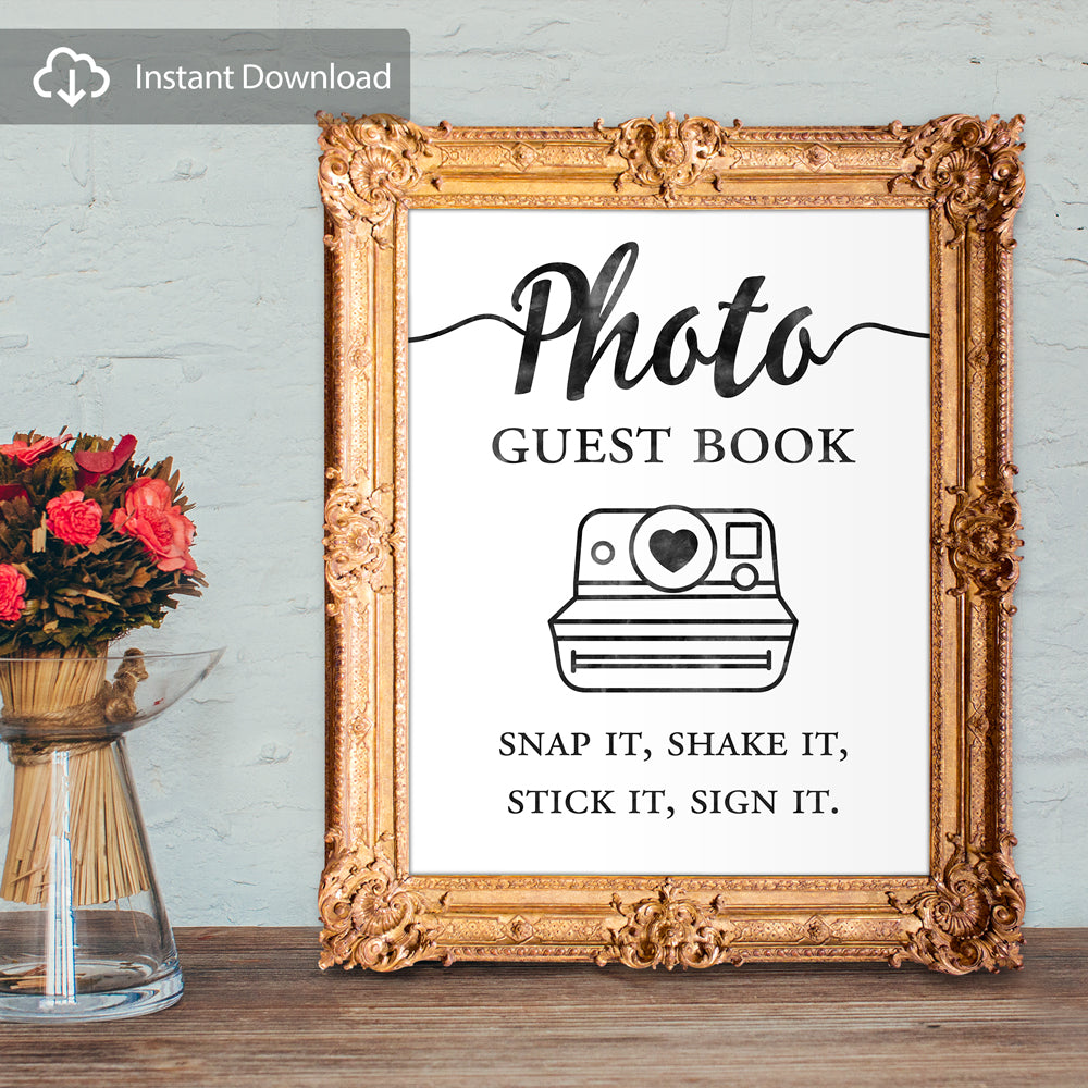 Photo guest book - snap it, shake it, stick it, sign it - digital download