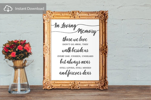 Wedding Memorial Sign - In Loving Memory