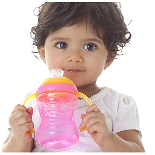Nuby Two-Handle No-Spill Super Spout Grip N' Sip Cup, 8 oz  4M+, Colors May Vary