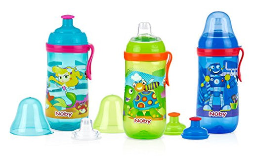 Nuby Sipper Cup No-Spill Silicone Spout & Free-Flow Pop-Up, 12 Ounce, Colors Vary