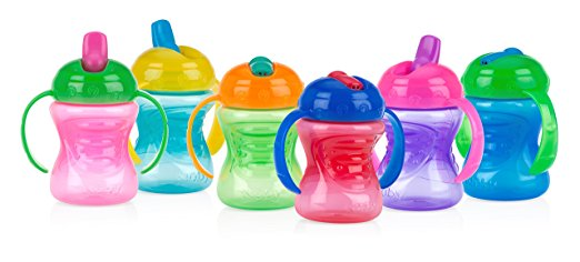 Nuby Two-Handle Grip N' Sip with Free Flow Spout, 8 Ounce, Colors May Vary