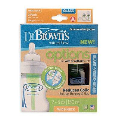 Dr. Brown's Natural Flow Options Glass Wide-Neck Bottle, 5 Ounce, 2 Count
