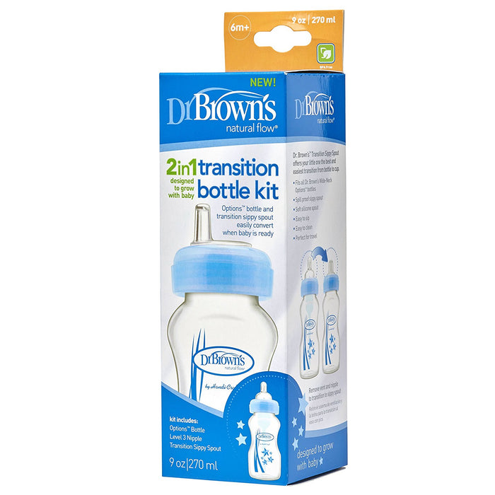 Dr. Brown's Wide-Neck Options Bottles, 2-In-1 Transition Bottle Kit, Blue, 9 Ounce