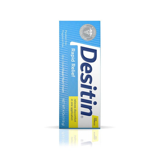 Desitin Rapid Relief Zinc Oxide Diaper Rash Cream, 4 Ounce