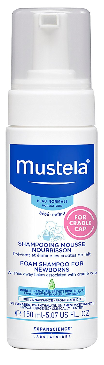 Mustela Normal Skin Newborns Baby Foam Shampoo, Cradle Cap Treatment & Prevention, 5.07 fl.oz.