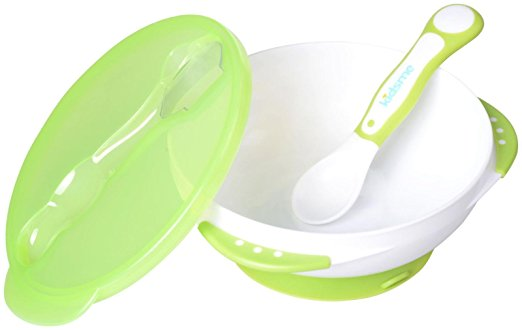 Kidsme Suction Bowl Set w. Spoon Lime