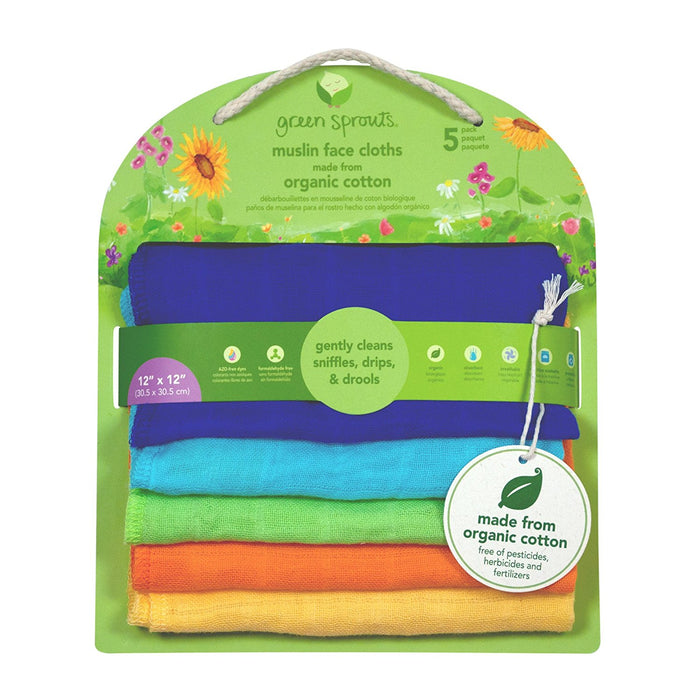 Green Sprouts, Muslin Face Cloths, Organic Cotton, Blue Set, 5 Count