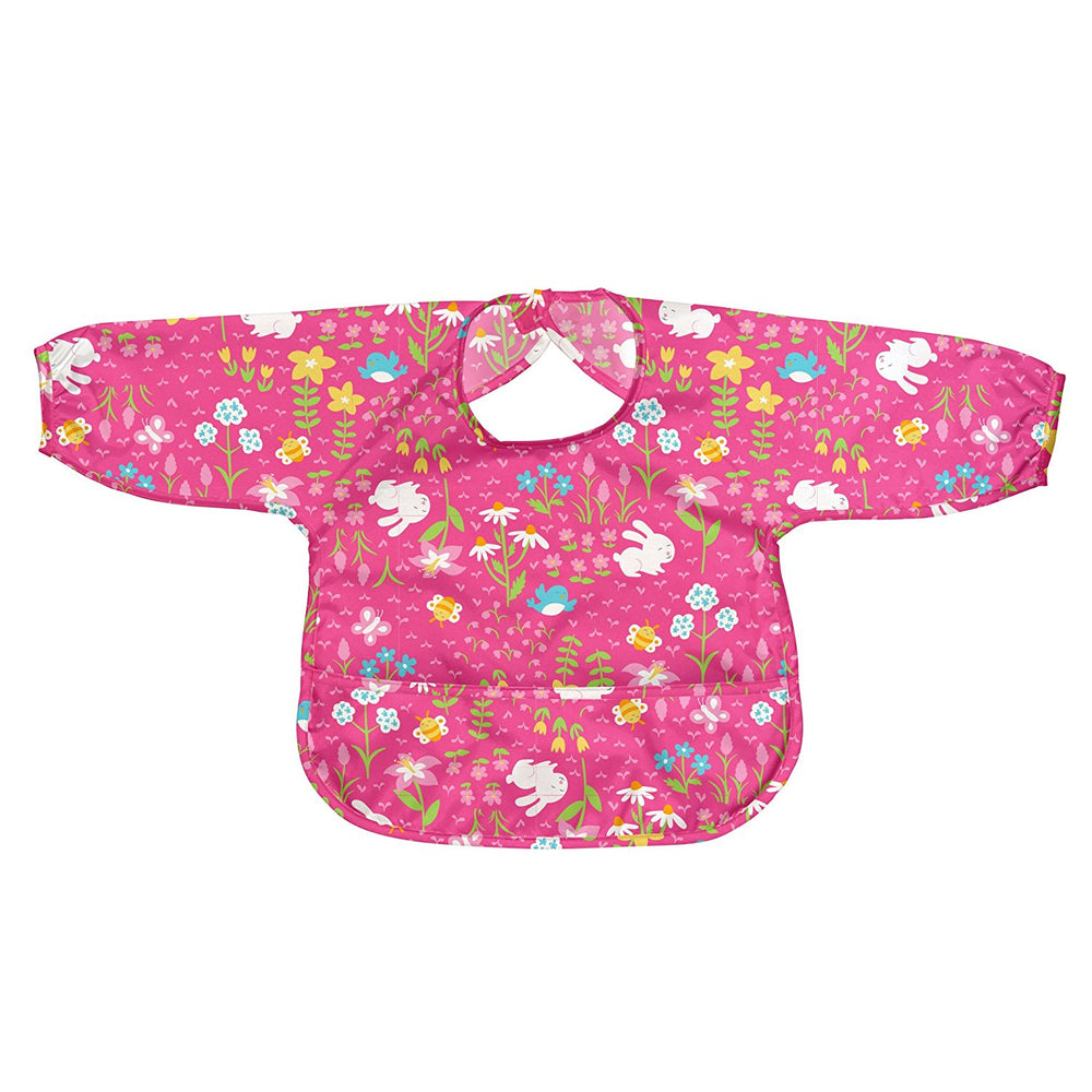 Green Sprouts, Easy-wear Long Sleeve Bib, Pink Wild Flowers, 12-24 Months