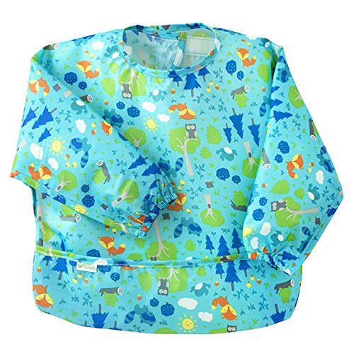 Green Sprouts, Easy-Wear Long Sleeve Bib, Aqua Forest, 12-24 Months