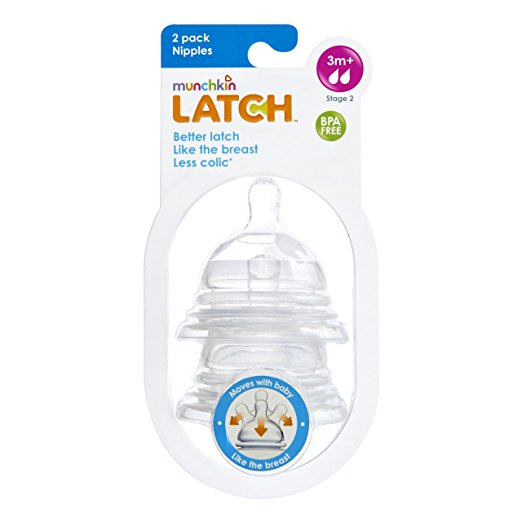 Munchkin Latch Stage 2 Nipple, 3M+, 2 Count