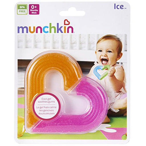 Munchkin Ice Heart Gel Teether, Pink/Orange 0M+