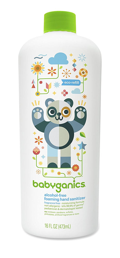 Babyganics Alcohol Free Foaming Hand Sanitizer Refill, Fragrance Free, 16 Ounce
