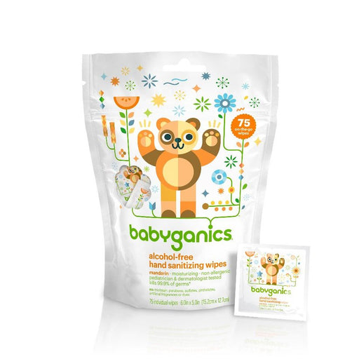 Babyganics Alcohol Free Hand Sanitizing Wipes Mandarin 75 Individual Packets