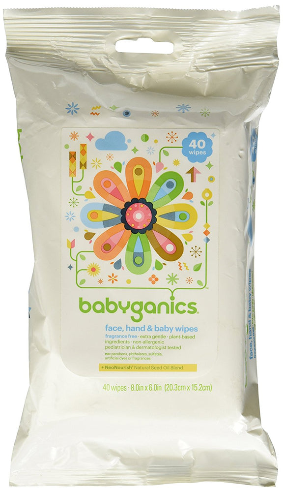 Babyganics Face, Hand & Baby Wipes, Fragrance Free, 40 Count
