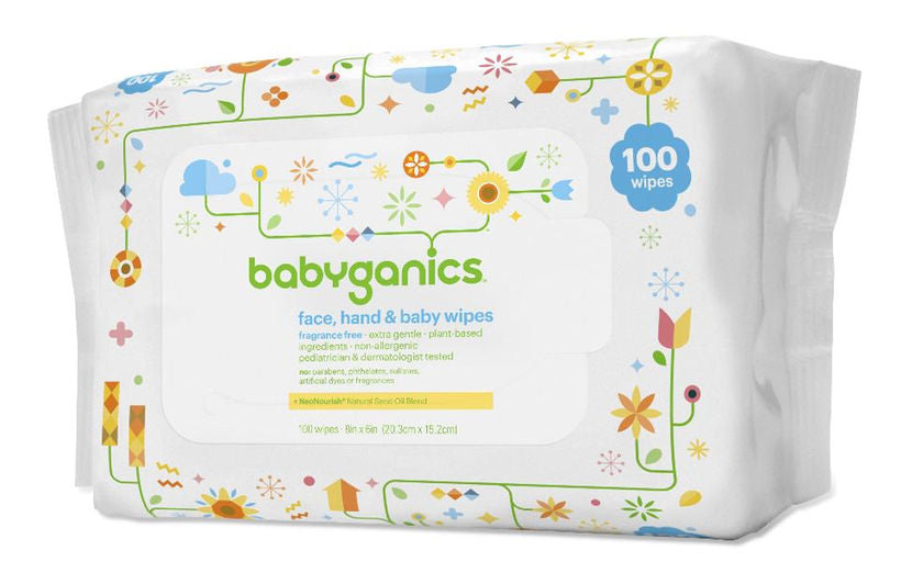 Babyganics Face- Hand & Baby Wipes- Fragrance Free, 100 Count
