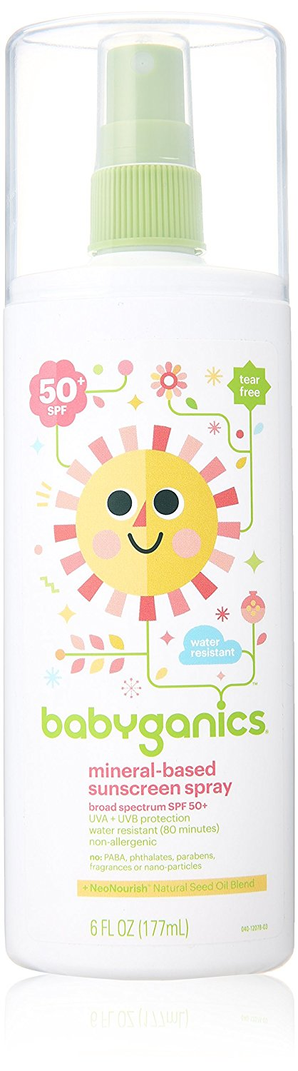 Babyganics Mineral Based Sunscreen Spray SPF 50+ Fragrance Free 6.0 Ounce