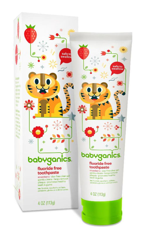 Babyganics Fluoride Free Toothpaste Strawberry, 4 Ounce Tube