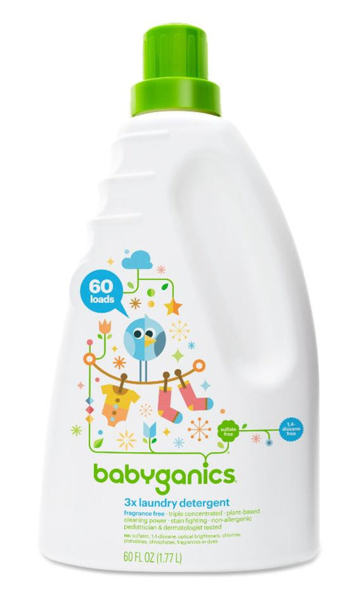 Babyganics Fragrance Free 3x Baby Laundry Detergent, 60 Ounce