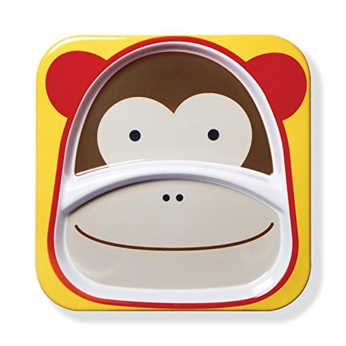 Skip Hop Baby Zoo Little Kid and Toddler Melamine Feeding Divided Plate Monkey