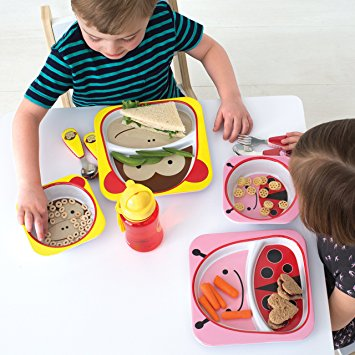 Skip Hop Baby Zoo Little Kid and Toddler Melamine Feeding Divided Plate Ladybug