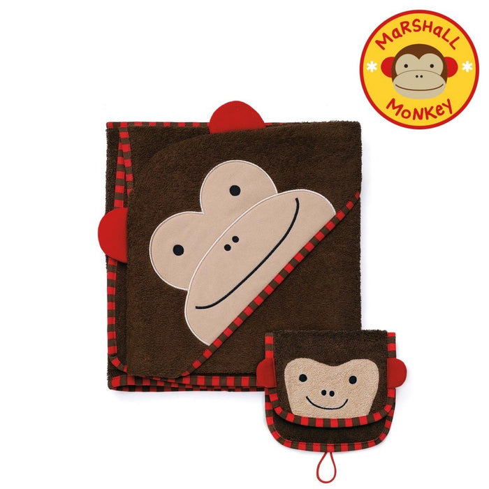 Skip Hop Zoo Infant & Toddler Hooded Towel & Mitt Washcloth Set Monkey