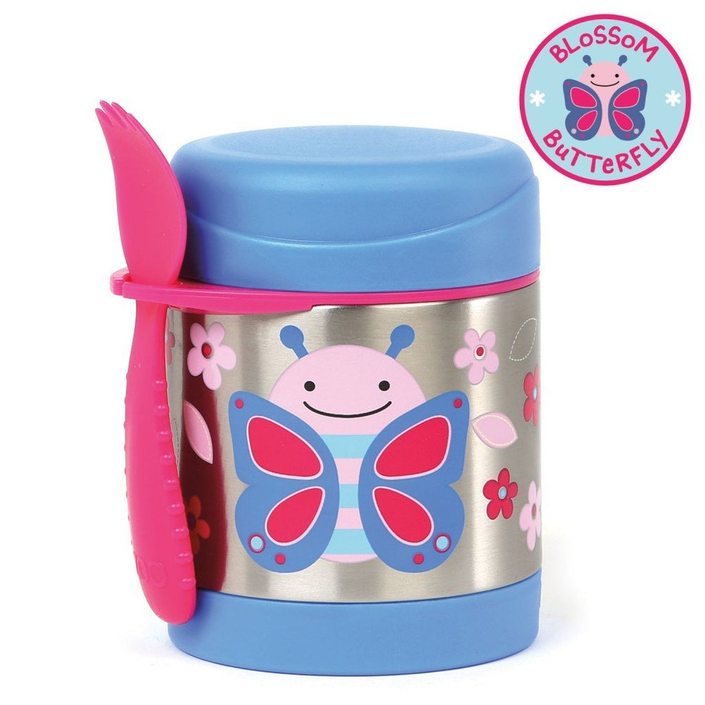 Skip Hop Baby Zoo Little Kid and Toddler Insulated Food Jar and Spork Set Butterfly