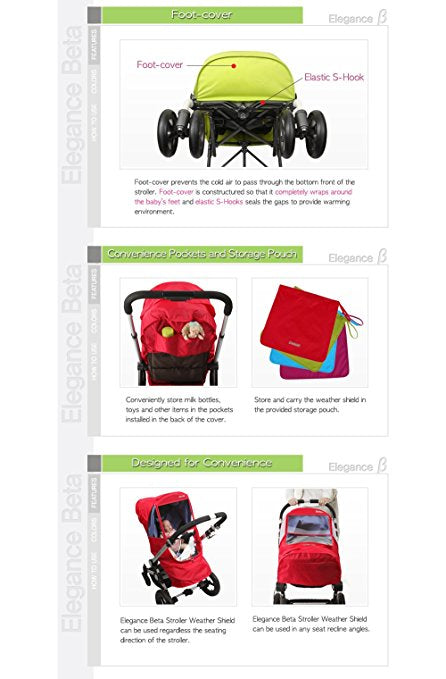 Manito Beta Stroller Weather Shield Red