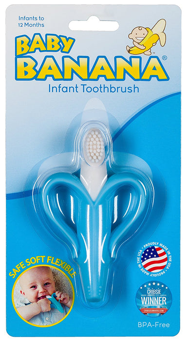 Baby Banana Infant Training Toothbrush and Teether, Blue