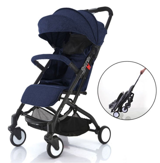 Babyroues Light Weight Stroller Triple Fold, Roll & Go Dark Blue/Black Frame
