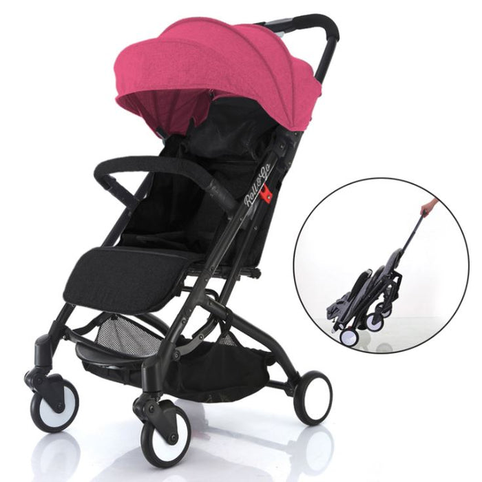 Babyroues Light Weight Stroller Triple Fold, Roll & Go, Pink Canopy/  Black Frame