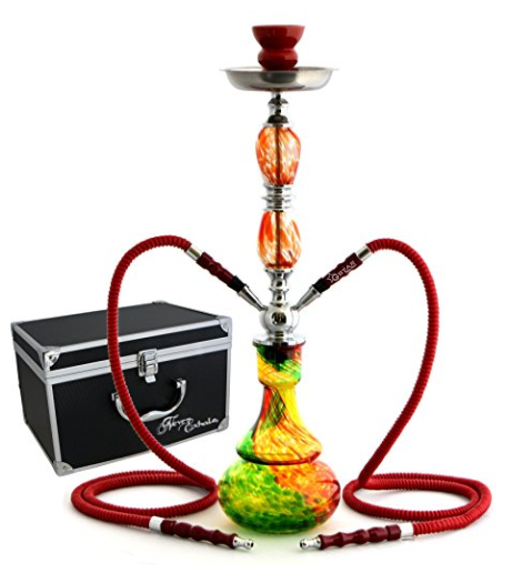 "GSTAR 22"" 2 Hose Hookah Complete Set with Optional Carrying Case - Swirl Glass Vase"