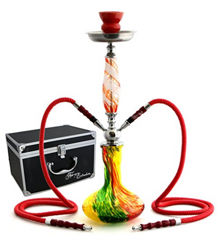 "GSTAR 22"" 2 Hose Hookah Complete Set with Optional Carrying Case - Swirl Art Glass Vase - (Rasta Red w/ Case)"