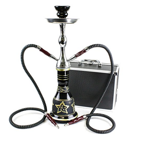 "GSTAR Convertible Series: 18"" 1 or 2 Hose Hookah Complete Set w/ Case - Majestic Glass Vase"