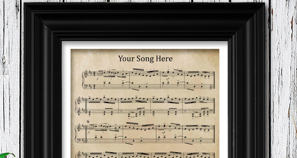 Paper Anniversary Gift Custom Framed Sheet Music