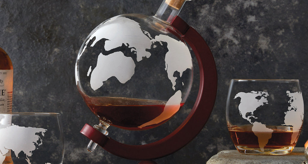Glass Anniversary Gift Etched Globe Decanter