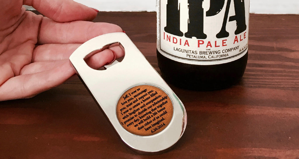 Leather Anniversary Gift For Him Bottle Opener
