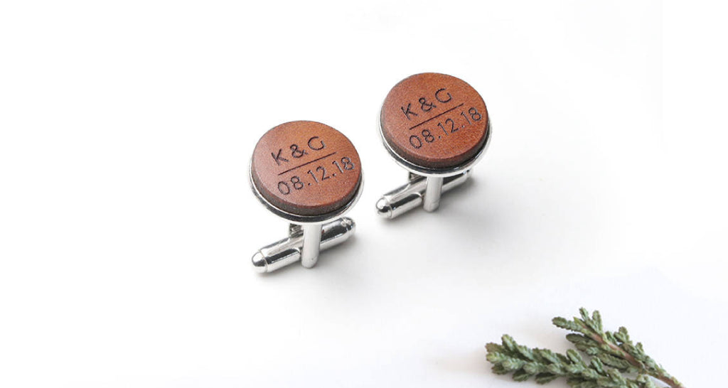 Leather Anniversary Gift For Him Cufflinks