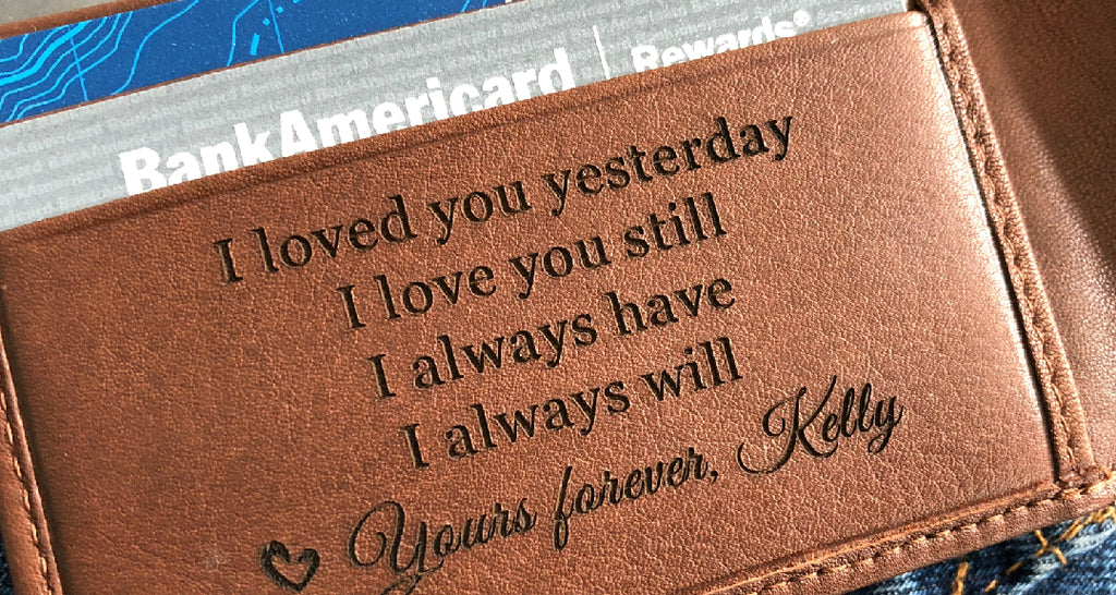 Leather Anniversary Gift For Him Engraved Wallet