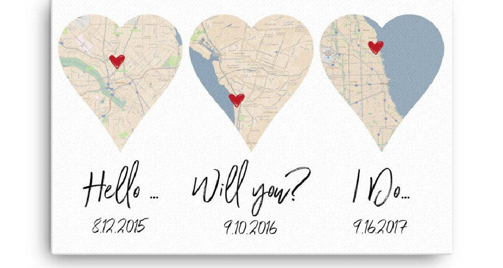 Paper Anniversary Gift Custom Location Canvas