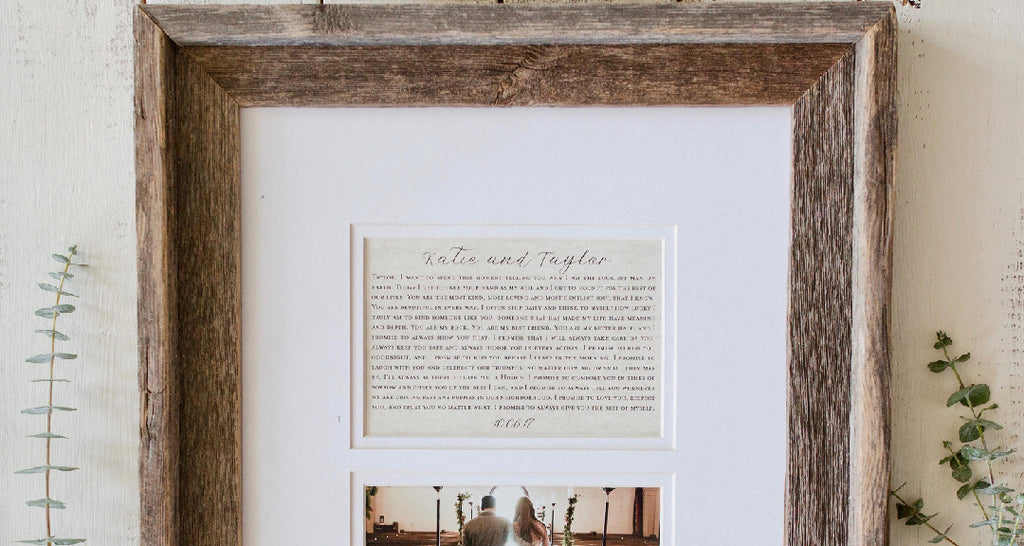 Paper Anniversary Gift Framed Wedding Vows