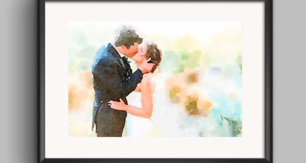 Paper Anniversary Gift Watercolor Photo