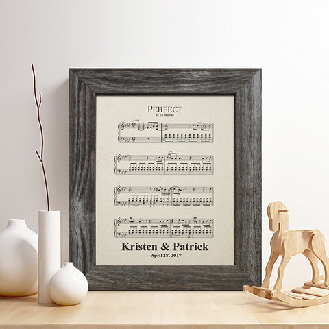 1st anniversary gifts for her sheet music with frame