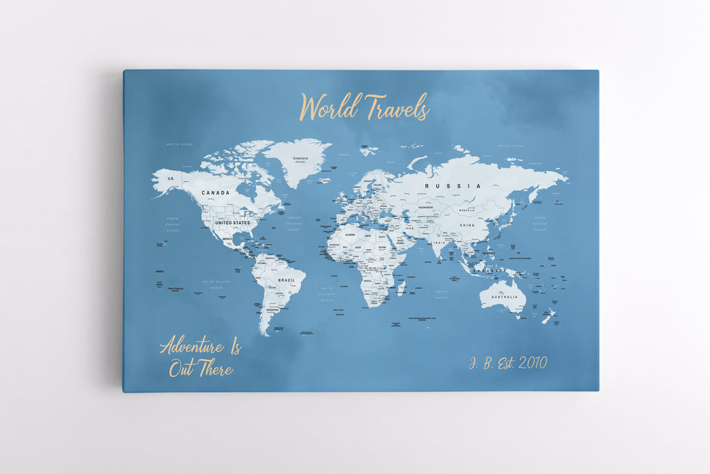 2nd Anniversary Canvas- Travel Map Canvas