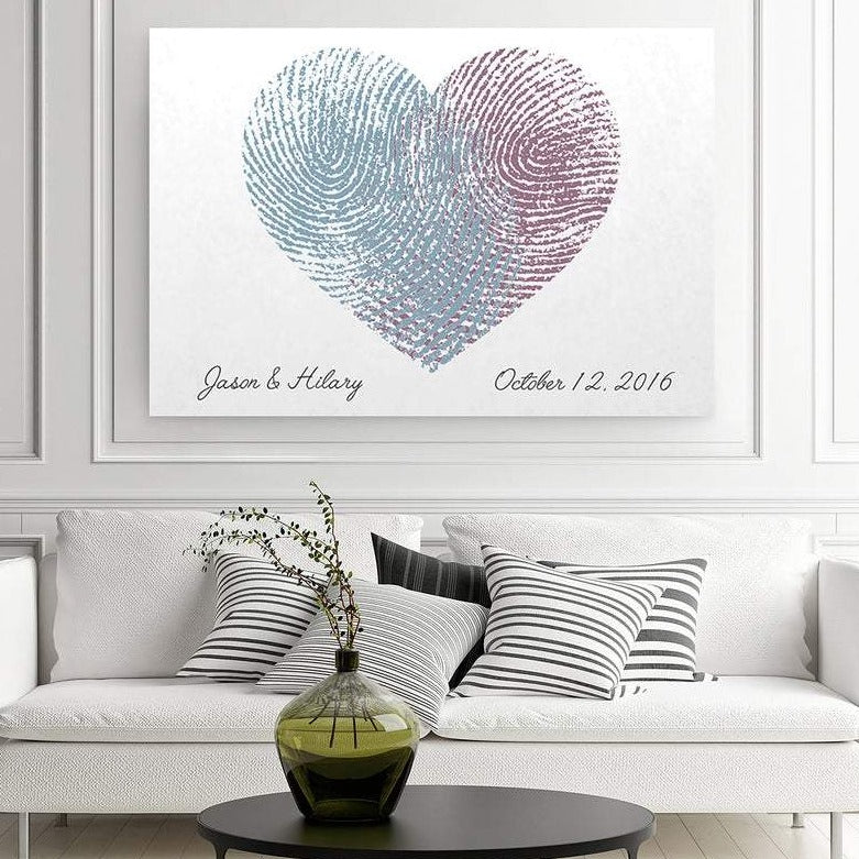 2nd Anniversary Canvas- Custom Fingerprint Canvas