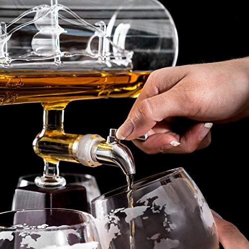 Glass Ship Whiskey Decanter