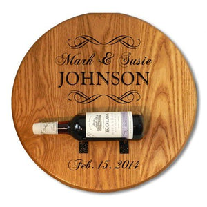 Personalized Barrel Head Wine Bottle Holder